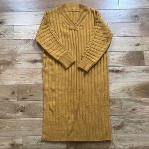 Romwe mustard yellow midi knit dress oversized fit